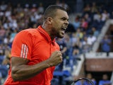 Jo-Wilfried Tsonga of France reacts as he plays against to Marcel Granollers of Spain during their 2015 US Open Men's Singles round 2 match at the USTA Billie Jean King National Tennis Center September 2, 2015