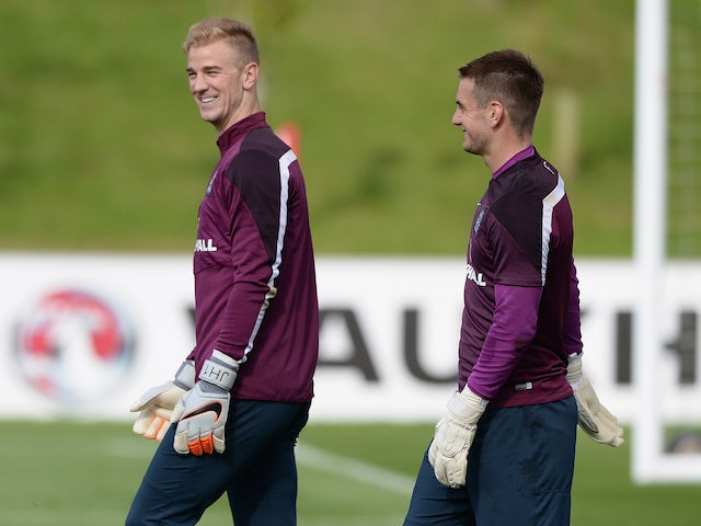 Joe Hart and Tom Heaton during an England training session on September 4, 2015