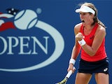 Johanna Konta of Great Britain reacts during her Women's Singles Second Round match against Garbine Muguruza of Spain on Day Four of the 2015 US Open at the USTA Billie Jean King National Tennis Center on September 3, 2015