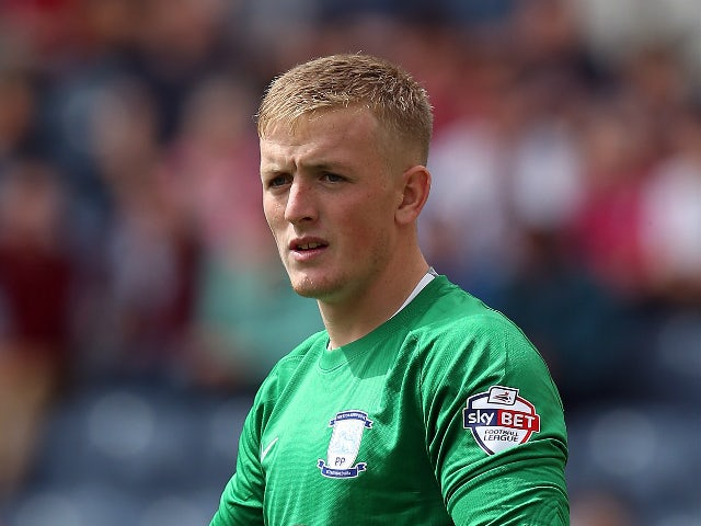 Jordan Pickford of Preston North End looks on during the Sky Bet Championship match between Preston North End and Middlesbrough at Deepdale on August 9, 2015 in Preston, England.