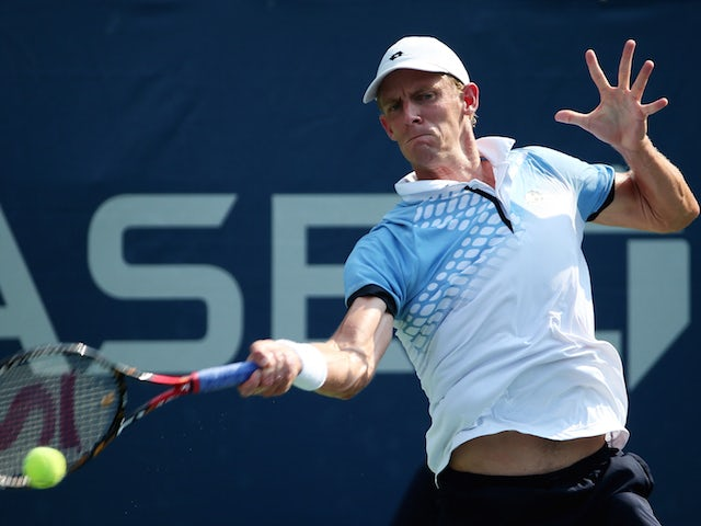 Kevin Anderson of South Africa returns a shot to Andrey Rublev of Russia during their Men's Singles First Round match on Day Two of the 2015 US Open at the USTA Billie Jean King National Tennis Center on September 1, 2015 in the Flushing neighborhood of t