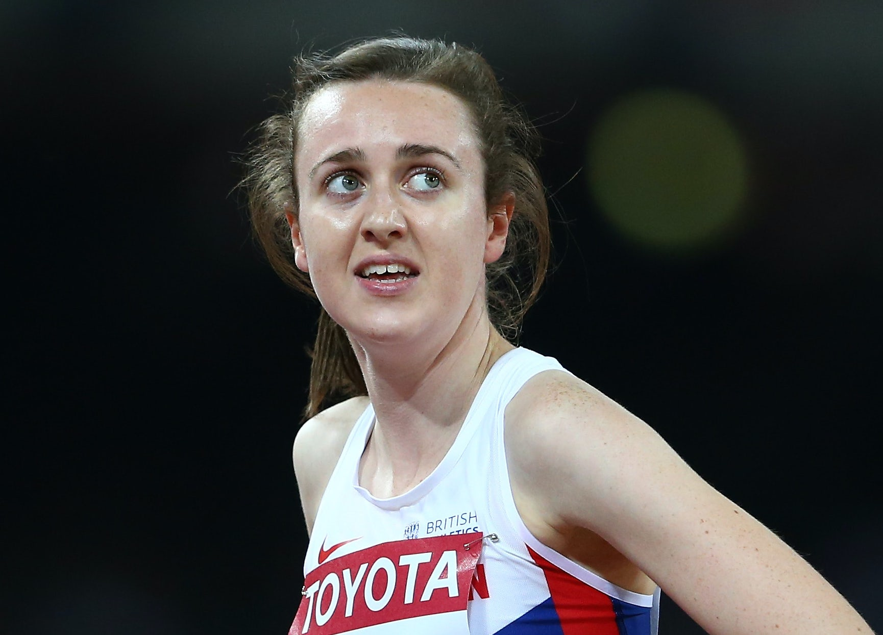 Laura Muir of Great Britain looks on after competing in the Women's 1500 metres semi-final the during day two of the 15th IAAF World Athletics Championships Beijing 2015 at Beijing National Stadium on August 23, 2015