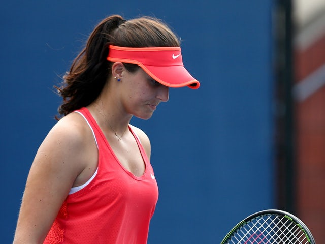 Laura Robson of Great Britain reacts against Elena Vesnina of Russia during their Women's Singles First Round match on Day Two of the 2015 US Open at the USTA Billie Jean King National Tennis Center on September 1, 2015