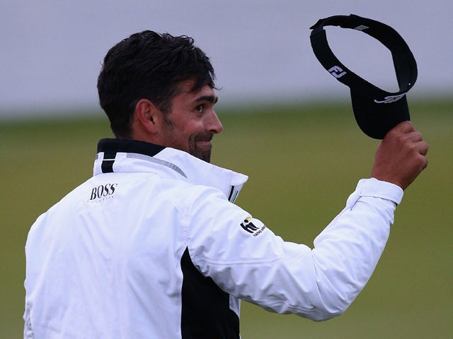 Lee Slattery of England thanks the crowd after finishing his round on the eighteenth hole on day three of the M2M Russian Open at Skolkovo Golf Club on September 5, 2015