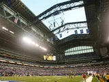 A general view of the interior of Lucas Oil Stadium, the new home of the Indianapolis Colts, with the roof open before a pre-season game between the Colts and the Buffalo Bills on August 24, 2008 at Lucas Oil Stadium in Indianapolis, Indiana.
