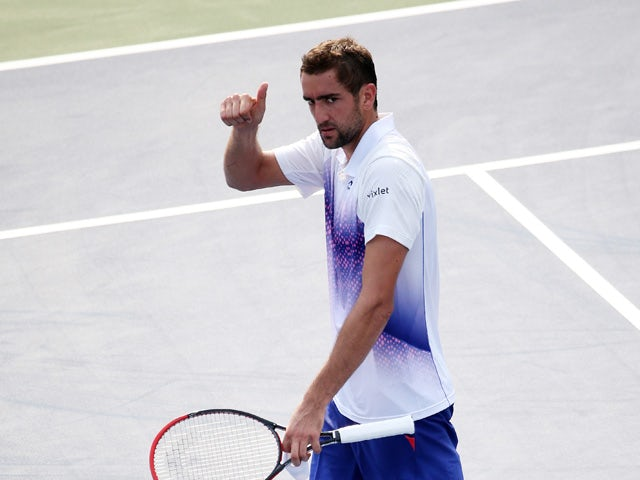 Marin Cilic of Croatia reatcs against Guido Pella of Argentina during their Men's Singles First Round match on Day One of the 2015 US Open at the USTA Billie Jean King National Tennis Center on August 31, 2015