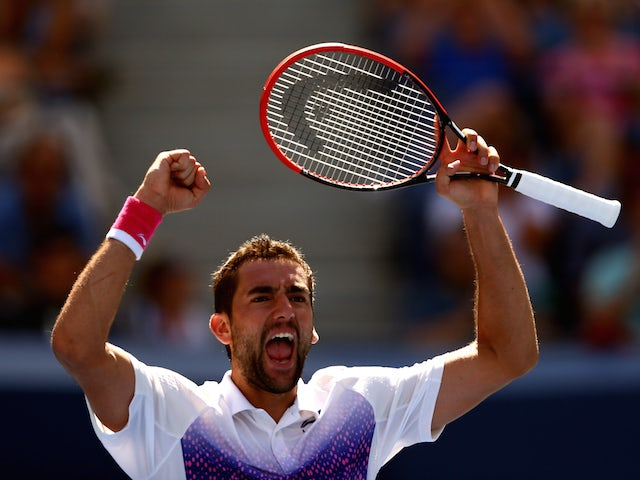 Marin Cilic of Croatia celebrates after defeating Jeremy Chardy of France in their Men's Singles Fourth Round match on Day Seven of the 2015 US Open.
