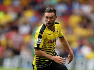Miguel Britos of Watford in action during the Barclays Premier League match between Watford and West Bromwich Albion on August 15, 2015