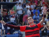 Milos Raonic of Canada reacts after defeating Fernando Verdasco of Spain during their 2015 US Open Men's Singles round 2 match at the USTA Billie Jean King National Tennis Center September 2, 2015 in New York. AFP PHOTO/KENA BETANCUR (Photo credit should