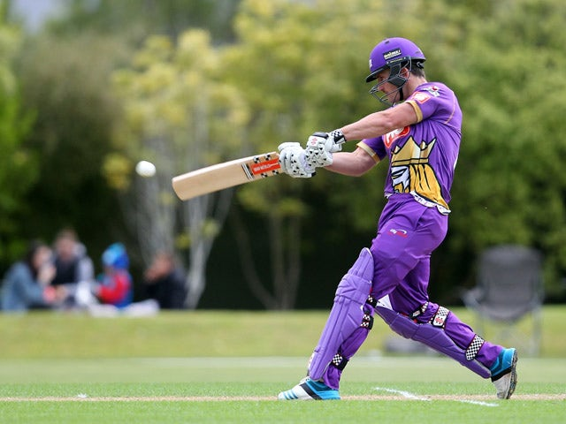 Neil Broom of Canterbury bats during the Georgie Pie Super Smash T20 match between the Otago Volts and the Canterbury Kings at University Oval on November 20, 2014