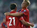 Norway's Defender Vegard Forren celebrates with Norway's Forward Alexander Soderlund after scoring a goal during the EURO 2016 Group H match between Bulgaria and Norway on September 3, 2015