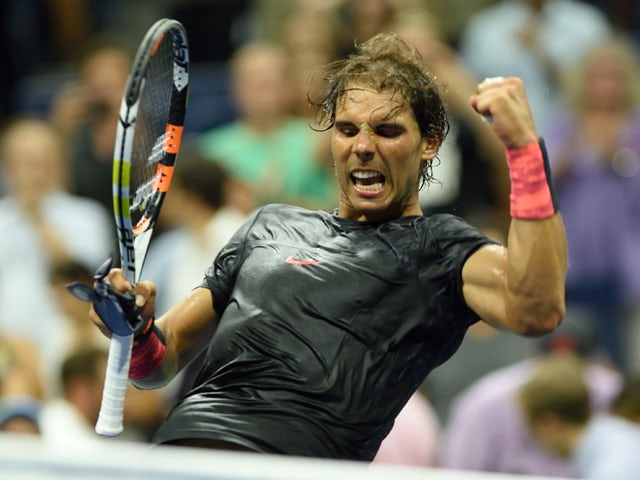 Rafael Nadal of Spain celebrates his win over Borna Coric of Croatia during their 2015 US Open Round 1 men's singles match at the USTA Billie Jean King National Center August 31, 2015