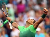 Rafael Nadal exclaims to the heavens after making it through to the third round of the US Open on September 3, 2015