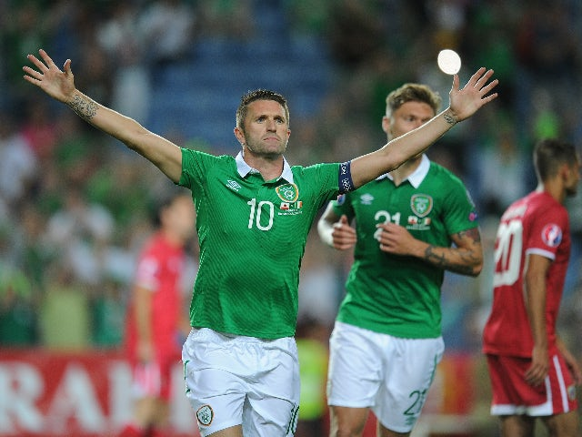 Robbie Keane of Republic of Ireland celebrates after scoring Ireland's 3rd goal during the UEFA EURO 2016 Qualifier between Gibraltar and Republic of Ireland at Estadio Algarve on September 4, 2015 in Faro, Portugal.