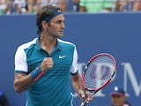 Roger Federer of Switzerland celebrates after defeating Leonardo Mayer of Argentina during their 2015 US Open Men's Singles round 1 match at the USTA Billie Jean King National Tennis Center September 1, 2015