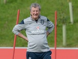 Roy 'Royston' Hodgson watches on during an England training session on September 4, 2015