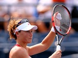 Samantha Stosur of Australia celebrates after defeating Evgeniya Rodina of Russian in their Women's Singles Second Round match on Day Four of the 2015 US Open at the USTA Billie Jean King National Tennis Center on September 3, 2015
