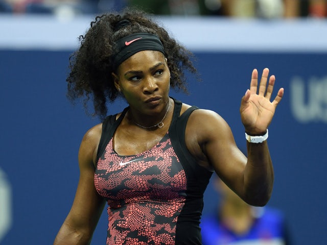 Serena Williams of the US gestures during her match against Vitalia Diatchenko of Russia in the 2015 US Open Round 1 women's singles match at the USTA Billie Jean King National Center August 31, 2015