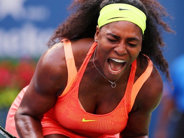Serena Williams doubles over in ecstasy during her second-round match at the US Open on September 2, 2015