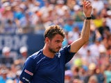 Stanislas Wawrinka of Switzerland reacts during his Men's Singles Second Round match against Hyeon Chung of Korea on Day Four of the 2015 US Open at the USTA Billie Jean King National Tennis Center on September 3, 2015