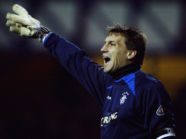 Stefan Klos of Rangers signals to a team mate during the Bank of Scotland Scottish Premier League match between Rangers and Hearts on December 20, 2003