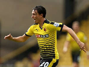 Steven Berghuis of Watford in action during the Barclays Premier League match between Watford and West Bromwich Albion on August 15, 2015