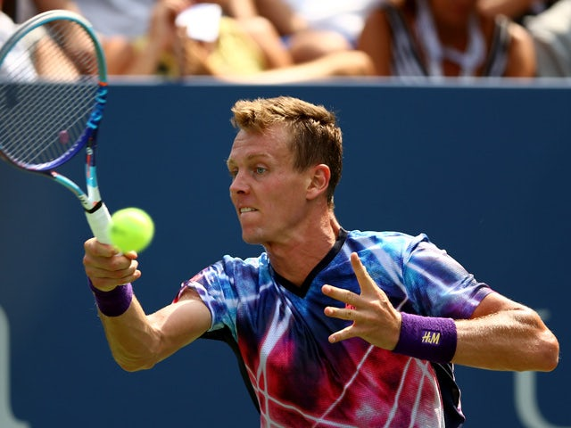 Tomas Berdych of Czech Republic returns a shot against Bjorn Fratangelo of the United States during their Men's Singles First Round match on Day Two of the 2015 US Open at the USTA Billie Jean King National Tennis Center on September 1, 2015