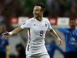 France's forward Mathieu Valbuena celebrates his goal during the Euro 2016 friendly football match Portugal vs France at the Jose Alvalade stadium in Lisbon on September 4, 2015.
