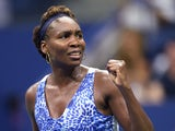 Venus Williams of the US celebrates during her victory over Irina Falconi of the US during their US Open 2015 second round women's singles match at the USTA Billie Jean King National Center September 2, 2015