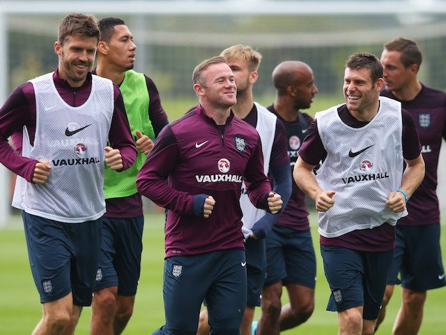 Wayne Rooney leads the troops during an England training session on September 2, 2015