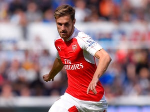 Arsenal player Aaron Ramsey in action during the Barclays Premier League match between Newcastle United and Arsenal on August 29, 2015