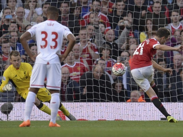 Ander Herrera scores Man Utd's second against Liverpool from the penalty spot on September 12, 2015