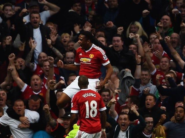 Anthony Martial celebrates scoring on his Man Utd debut against Liverpool on September 12, 2015