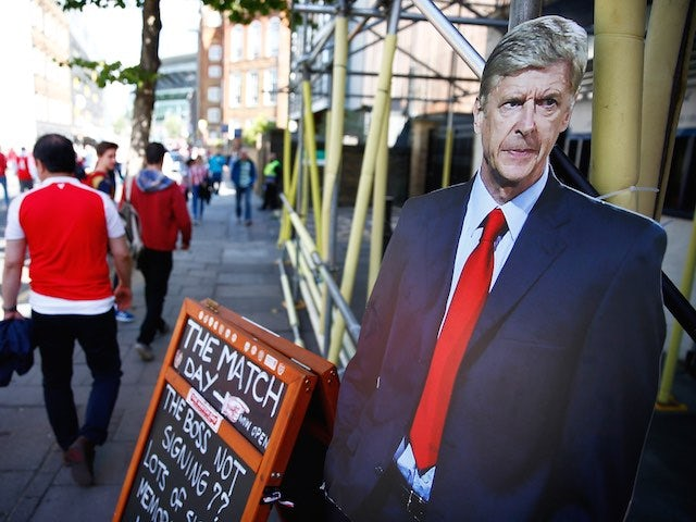 A cardboard cutout of Arsene Wenger looks unimpressed ahead of Arsenal's game with Stoke on September 12, 2015