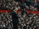 Liverpool boss Brendan Rodgers watches on at Old Trafford on September 12, 2015