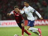 Albania's Burim Kukeli (L) vies with Portugal's Cristiano Ronaldo (R) during the Euro 2016 qualifying football match between Albania and Portugal at the Elbasan Arena in Elbasan on September 7, 2015.