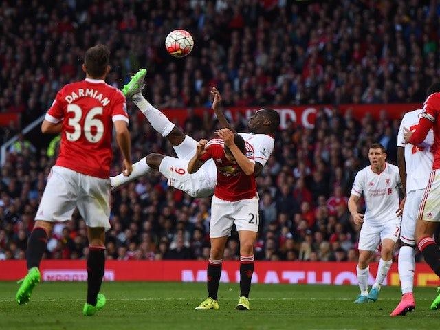 Christian Benteke scores with an overhead kick for Liverpool against Man Utd on September 12, 2015
