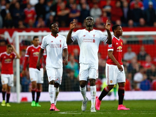 Liverpool's Christian Benteke celebrates scoring against Man Utd on September 12, 2015