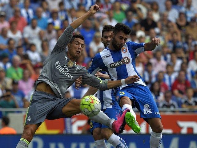 Cristiano Ronaldo knocks one past Espanyol's Ruben Duarte on September 12, 2015