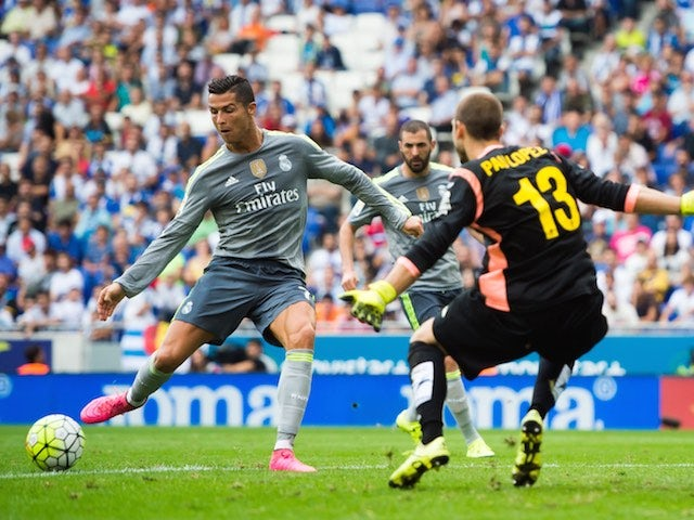 Cristiano Ronaldo scores his fourth against Espanyol on September 12, 2015