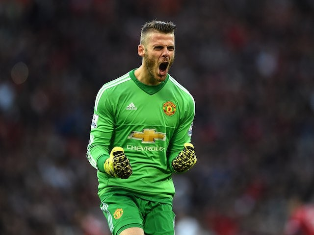 David de Gea celebrates Man Utd scoring against Liverpool on September 12, 2015