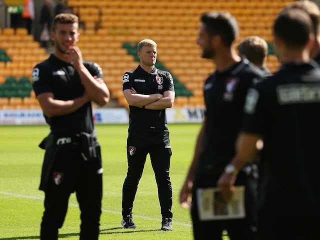 Eddie Howe looks on ahead of Bournemouth's match with Norwich on September 12, 2015