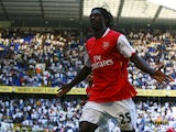 Emmanuel Adebayor of Arsenal celebrates his 2nd goal during the Barclays Premier League match between Tottenham Hotspur and Arsenal at White Hart Lane on September 15, 2007