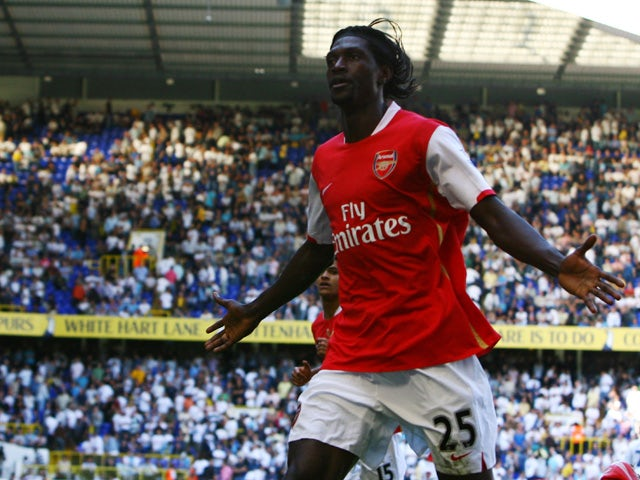 566e74c23 Emmanuel Adebayor of Arsenal celebrates his 2nd goal during the Barclays  Premier League match between Tottenham