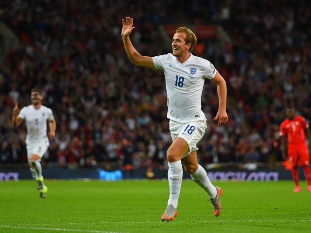 rry Kane of England celebrates scoring the first goal during the UEFA EURO 2016 Group E qualifying match between England and Switzerland at Wembley Stadium on September 8, 2015