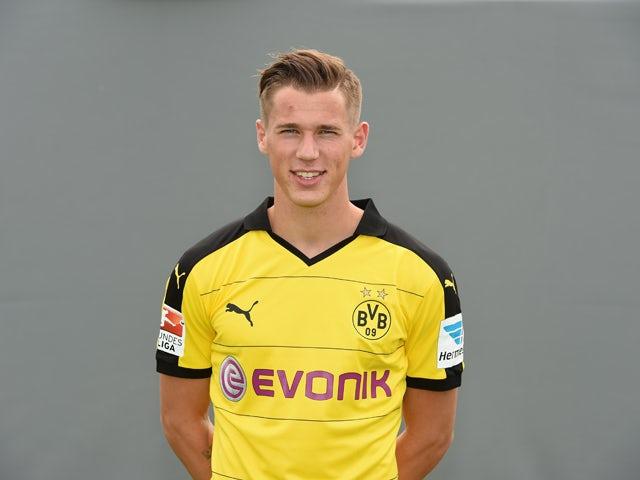 Dortmund's defender Erik Durm poses during the team presentation of German first division Bundesliga football club Borussia Dortmund at the Dortmund Brackel training grounds on July 15, 2015