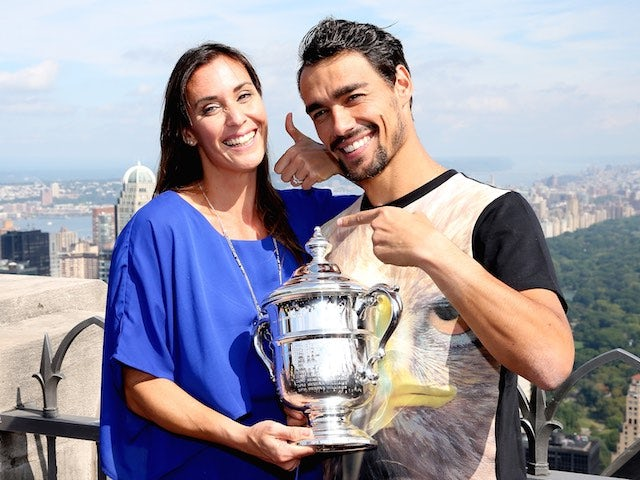 Flavia Pennetta and fiance Fabio Fognini cavort around with the US Open trophy on September 13, 2015