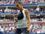 Flavia Pennetta reacts to winning a point during the US Open final on September 12, 2015