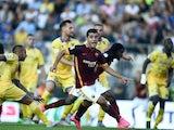Iago Falque celebrates scoring for Roma against Frosinone on September 12, 2015