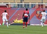 'Fabinho' scores from the penalty spot for Monaco against Gazelec Ajaccio on September 13, 2015